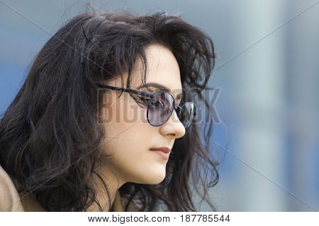 Portrait Of Young Beautiful Women  With Sunglasses