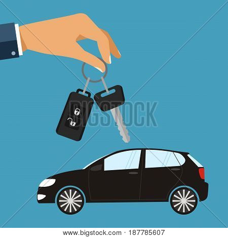 Hand with car keys. Concept rent or buying car. illustration in flat design