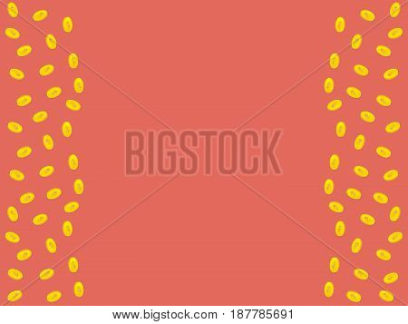 Vector pink background with golden coins and space for text