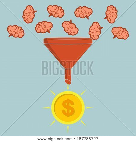 Business concept. Sales funnel converting brains into money. Vector illustration creative process.