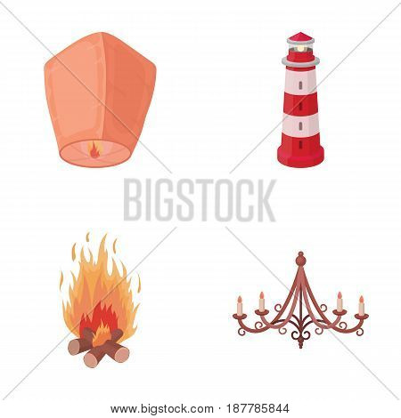 A light lantern, a lighthouse, a fire, a chandelier with candles.Light source set collection icons in cartoon style vector symbol stock illustration .