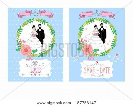 illustration of a bride and groom. Vintage wedding invitation with  place for text. Cartoon wedding invitation with a smiling couple. wedding card design,