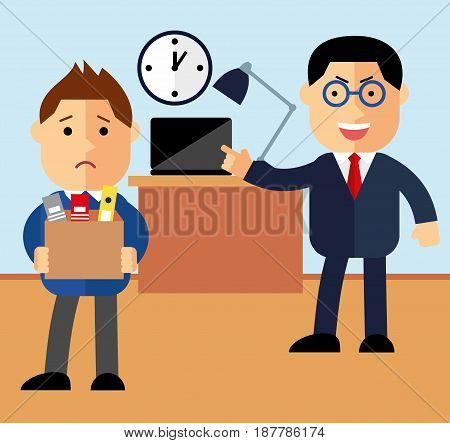 Concept dismissal. Boss dismissed employee. Flat vector illustration. Sad cartoon man leaves the office with things