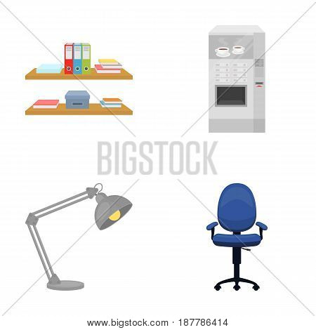 Shelves, folders and notebooks with business records, a coffee machine with cups, an armchair with a backrest on wheels, a desk lamp. Office Furniture set collection icons in cartoon style vector symbol stock illustration .