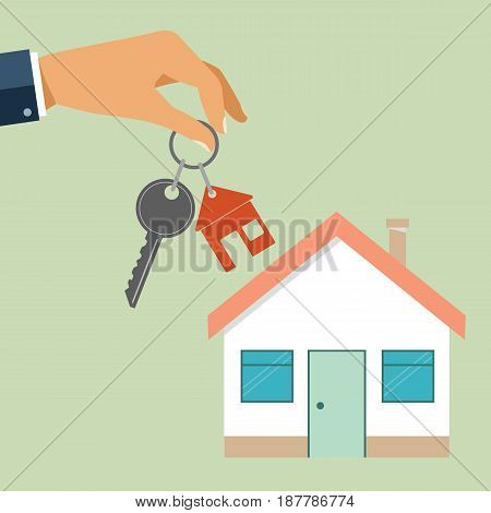 Real estate concept in flat style - hand agent holds a key with a tag in the form of homes. Demand and supply