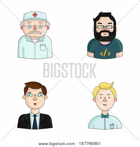 Doctor in a dressing-gown with a red cross on his head, a hacker with a beard in a T-shirt and glasses, a businessman in a tie, a waiter in a gastronome, a butterfly. People of different professions set collection icons in cartoon style vector symbol stoc