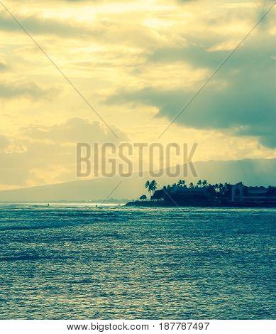 Sunset at Ala Moana Beach Honolulu Hawaii on memorial day 2016.
