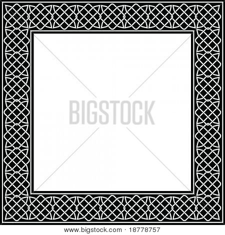 A vector illustration of a decorative frame made of Celtic knots. Black and white with copy space