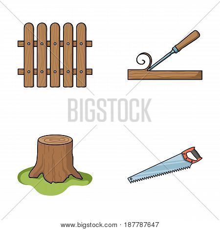 Fence, chisel, stump, hacksaw for wood. Lumber and timber set collection icons in cartoon style vector symbol stock illustration .