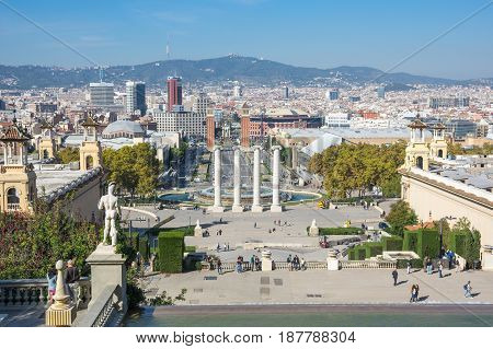 BARCELONA SPAIN - OCTOBER 23 2015: Panoramic view of Barcelona the capital city of the autonomous community of Catalonia in the Kingdom of Spain