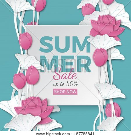 Summer sale banner with paper cut frame and blooming pink lotus flowers on blue floral background for banner flyer invitation poster web site or greeting card. Paper cut style vector illustration