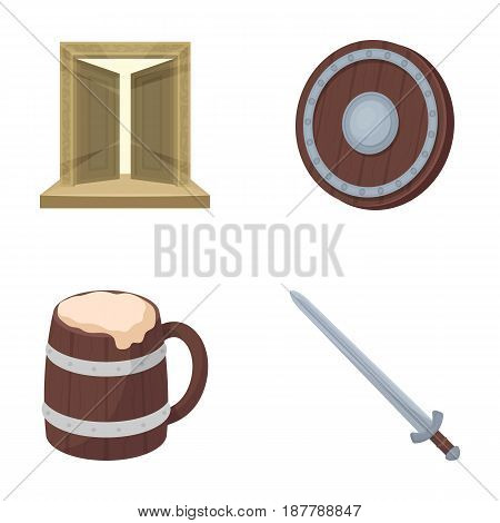 A gate to the treasure, a shield for protection, a mug with a bra, a sword. Vikings set collection icons in cartoon style vector symbol stock illustration .