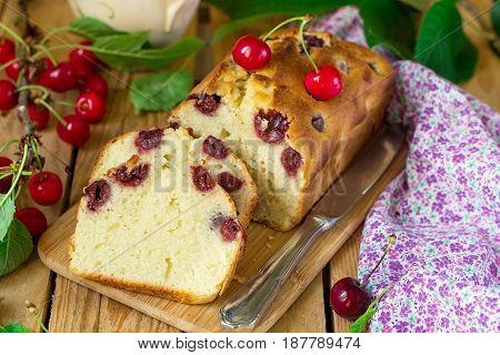 Sweet cherry cake with fresh cherries for dessert