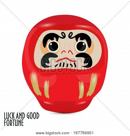 Vector illustration: red daruma doll or dharma doll.  Japanese traditional doll modeled after Bodhidharma, the founder of the Zen sect of Buddhism. Red is for luck and fortune.