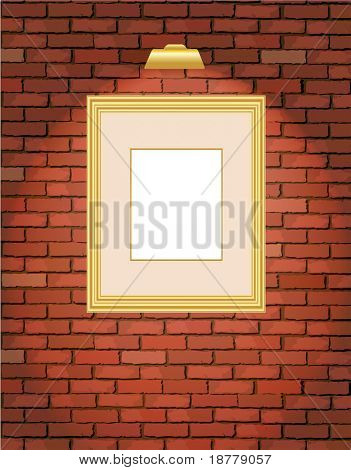 A vector illustration of an old brick wall with a blank gold picture frame
