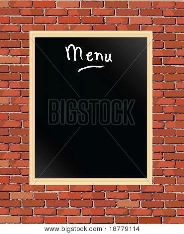 An illustration of a 'menu' chalkboard against a brick wall