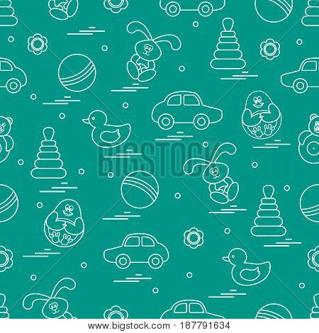 Vector Pattern Of Different Toys: Car, Pyramid, Roly-poly, Ball, Hare, Rattle, Duck, Penguin.