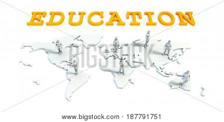 Education Concept with a Global Business Team 3D Illustration Render