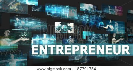 Entrepreneur Presentation Background with Technology Abstract Art 3D Illustration Render