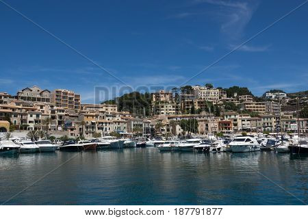 Marina view village of Port-Soller, Mallorca island, Balearic Islands, Spain.