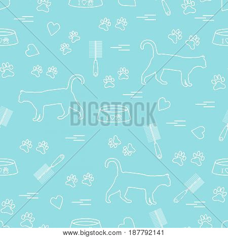 Nice Pattern Of Silhouette Walking Cat, Traces, Hearts, Bowl And Comb Need For Cat Hair.