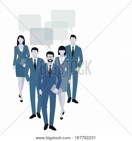 Business men and women silhouette. team business people group hold document folders isolated on white background. Business people and speech bubble