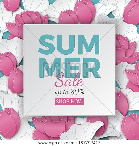 Summer sale banner with paper cut frame and blooming pink lotus flowers on blue floral background for flyer invitation poster or web site. Text on paper frame paper cut style vector illustration