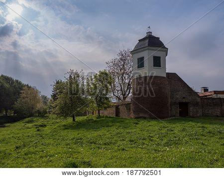Taubenturm in Kalkar Germany on a cloudy day in springtime