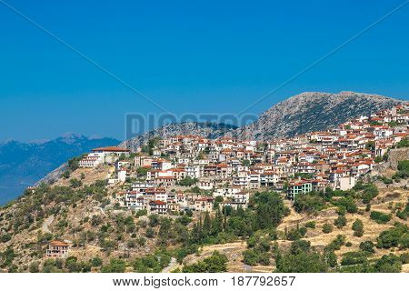Aerial drone photo of traditional greek village.