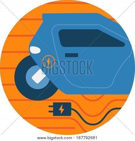Electric Car Abstract Icon Illustration. Smart Technology futuristic concept isolated vector. Transparent.
