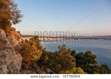 Aereal View of Loutraki town Corinthia, Greece.
