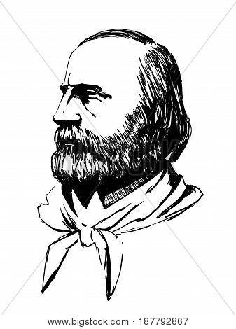 Giuseppe Garibaldi portrait vector illustration. Italian history.