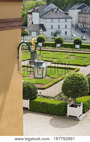 WEILBURG, GERMANY-MAY 22, 2017: The castle park of Weilburg, Hesse, Germany