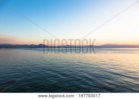 Sunset from Loutraki beach Gulf of Corinth, Greece.