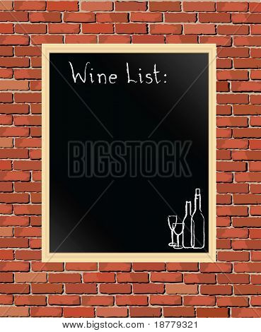 A vector illustration of a 'Wine List' chalkboard against a brick wall.