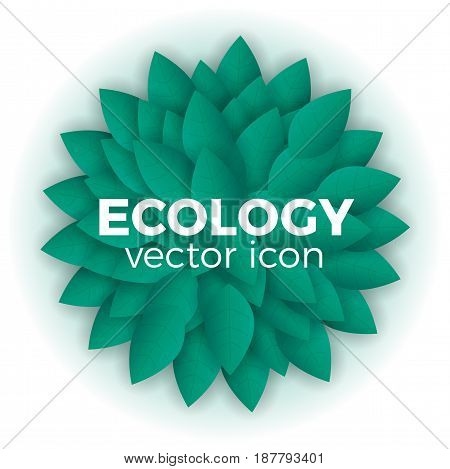 Vector organic, green and natural emblem or logo design template. Ecology concept. Round shape, circle made with leaves.