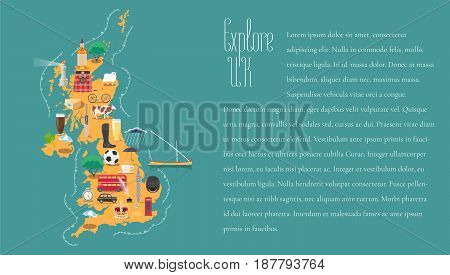 Map of United Kingdom Great Britain England template vector illustration. Icons with British travel destinations. Explore UK concept image