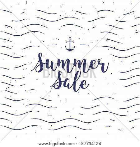 vector typographic illustration of handwritten Sale retro label with light rays. Promotional lettering composition