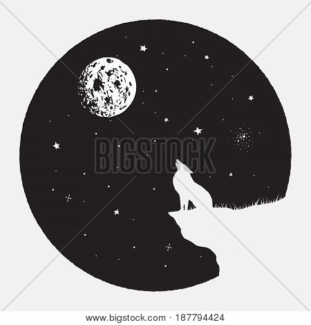 wolf sits on breakage and howling to full Moon.Vector illustration