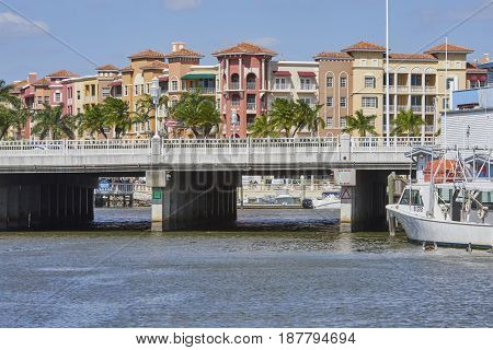 bridge over waterway in Tin City - Naples Florida