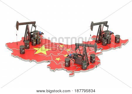 Chinese map with oil barrels and pumpjacks. Oil production concept. 3D rendering