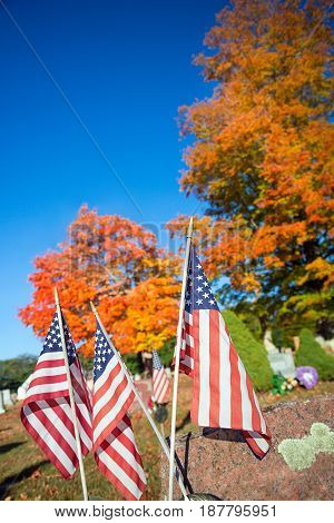 American veteran flags in autumn cemetery in New England