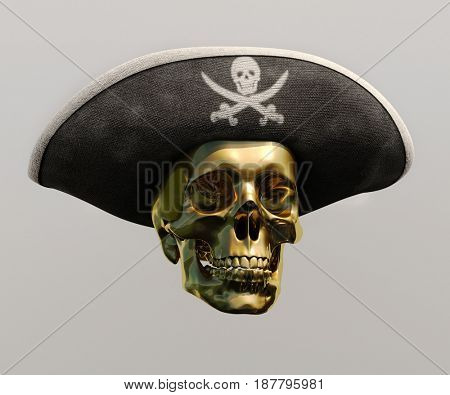 3d render: Pirate Gold Skull and Black Cocked Pirate Triangle Hat with Skull and Crossed Bones on Gray Background