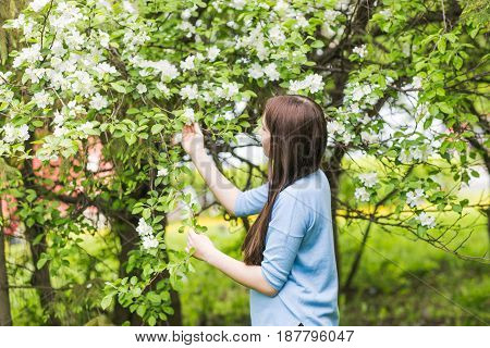 Portrait of young woman smiling in the flowered garden in the spring time. Apple tree flowers blossoms