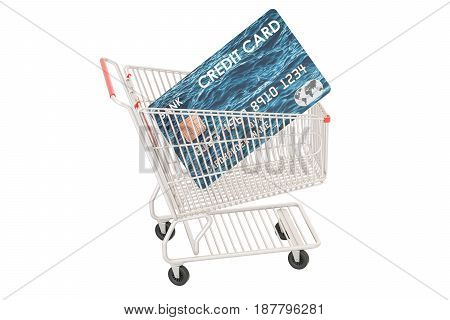 Shopping concept. Shopping cart with credit card 3D rendering isolated on white background