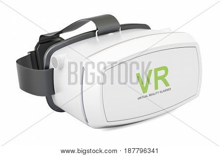 White virtual reality glasses 3D rendering isolated on white background