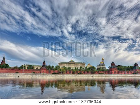 View of the Kremlin, Moskva-river and the Kremlin embankment. Moscow, Russia.