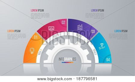Vector circle chart template for infographics with 4 options.