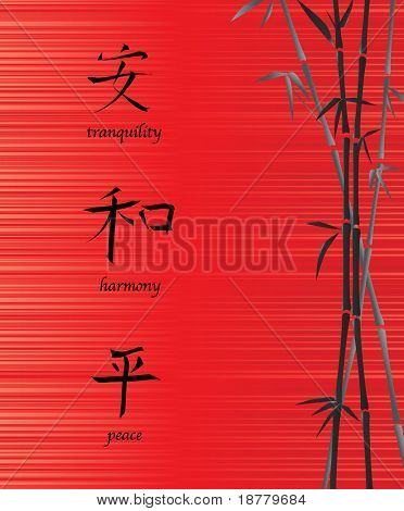 A vector illustration of Chinese symbols for tranquility, harmony and peace. On red silk background with bamboo