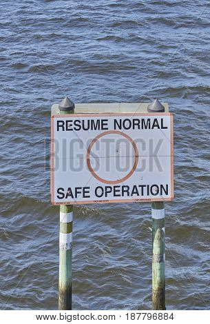 marine boat operation sign signaling caution and speed